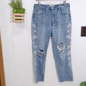 PacSun Georgia Blue Embroidered Mom Jeans 29